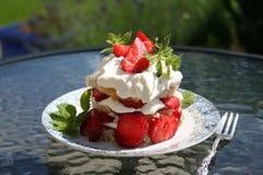 Ciasto z słodkimi Szwedzkimi truskawkami Zdjęcia Stock