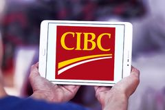 CIBC bank logo. Logo of CIBC bank on samsung tablet. Canadian Imperial Bank of Commerce, CIBC, is one of the Big Five banks in Canada Stock Photo