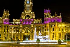 Cibeles和帕拉西奥de telecomunicaciones在马德里 库存照片
