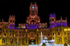 Cibeles和帕拉西奥de telecomunicaciones在马德里 免版税库存照片