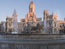 Cibeles喷泉和帕拉西奥de Telecomunicaciones 免版税库存图片