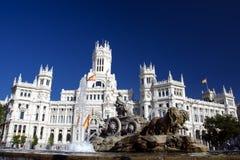 Cibeles喷泉在马德里,西班牙 库存照片