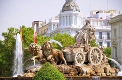 Cibeles喷泉在马德里,西班牙 免版税库存图片