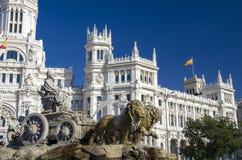 Cibeles喷泉在马德里,西班牙 免版税库存照片