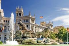 Cibeles喷泉在马德里,西班牙 免版税图库摄影