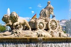 Cibeles喷泉,市的标志马德里 免版税库存图片