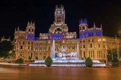 Cibeles在马德里摆正(Plaza de la Cibeles) 库存图片