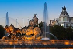 cibeles de skymning plaza Royaltyfri Foto