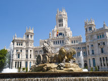 Cibeles Fountain and Cibeles Palace Royalty Free Stock Images