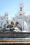 Cibeles Fountain at Cibeles Square near Post Office Building Stock Images
