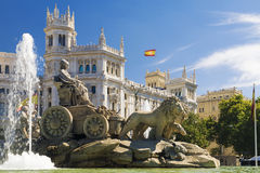 Cibeles Fountain - a fountain in the square of the same name in. Madrid royalty free stock photography