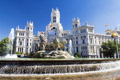Cibeles Fountain - a fountain in the square of the same name in stock photography