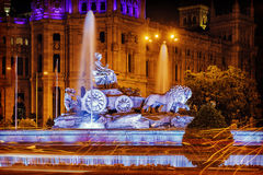 Cibeles Fountain - a fountain in the square of the same name in. Madrid royalty free stock photos