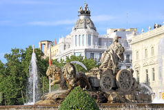 Cibeles fountain in Madrid, Spain Royalty Free Stock Images