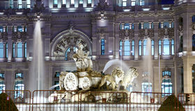 Cibeles fountain near Post Office Building Royalty Free Stock Images