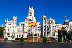Cibeles Fountain and Palacio de Comunicaciones Stock Photos
