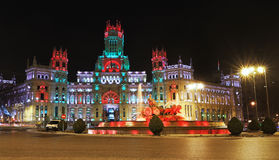 Cibeles Fountain and Palacio de Comunicaciones, Madrid. Stock Image