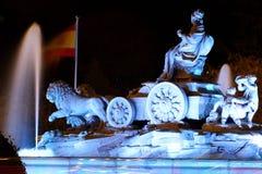Cibeles fountain at Plaza de Cibeles at night, Madrid, Spain royalty free stock photography