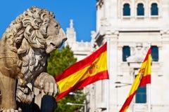 Cibeles Fountain Stone Lion Detail, Madrid Royalty Free Stock Photos