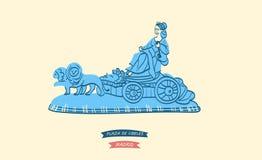 Cibeles Fountain, symbol of the Plaza de Cibeles. Hand-drawn illustration of Cibeles Fountain, symbol of the Plaza de Cibeles and Madrid vector illustration