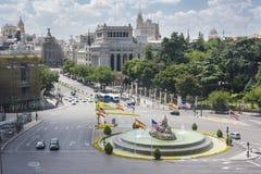 Cibeles fyrkantig flyg- sikt, Madrid, Spanien Arkivbilder