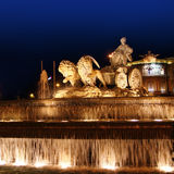 Cibeles night statue in Madrid Paseo Castellana Stock Photography