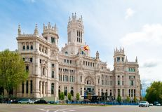 Cibeles Palace. (formerly named Communications Palace) is the most prominent of the buildings at the Plaza de Cibeles in Madrid, Spain. This impressive building Stock Photography