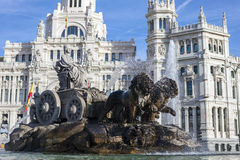 Cibeles Palace and fountain Stock Photos