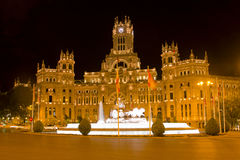 Cibeles Palace and fountain at night royalty free stock photos