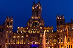 Cibeles Palace at Night Front royalty free stock photos