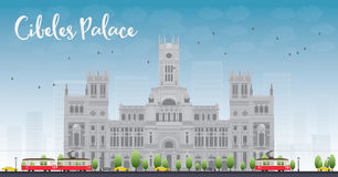 Cibeles Palace (Palacio de Cibeles), Madrid, Spain. It was home to the Postal and Telegraphic Museum until 2007. Vector illustration royalty free illustration