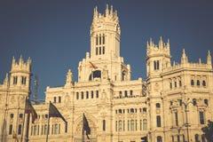 Cibeles-Palast ist der Gebäude am Winkel des Leistungshebels das vorstehendste Stockfoto