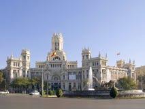 Cibeles Quadrat und Palast von Kommunikationen, Madri Stockbilder