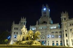 Cibeles springbrunn i Madrid, Spanien Arkivbilder