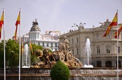 Cibeles springbrunn i Madrid, Spanien Royaltyfri Bild