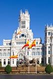 Cibeles springbrunn och Palacio de Comunicaciones Royaltyfri Bild
