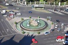 Cibeles springbrunn på den Cibeles fyrkanten i Madrid Arkivbild