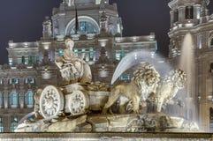 Cibeles springbrunn på Madrid, Spanien Fotografering för Bildbyråer