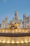 Cibeles springbrunn på Madrid, Spanien Arkivbild