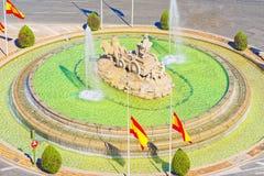 Cibeles springbrunnFuente de La Diosa Cibeles, Fontano Cibelo Arkivbilder