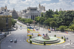 Cibeles Square Aerial view, Madrid, Spain Stock Images