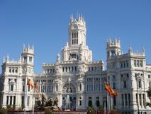 Cibeles Square in Madrid. Cibeles Fountain and Communications Palace in Madrid Royalty Free Stock Image