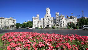 Cibeles Square, in the Madrid, Spain stock video
