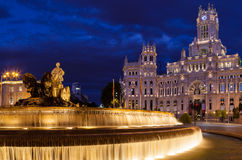 Cibeles Square at Night Stock Photos