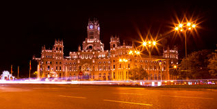 Cibeles Square at Night, Madrid Stock Photos