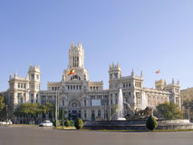 Cibeles Square and Palace of Communications, Madri Stock Images