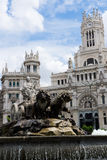 Cibeles statue in Madrid. With the city hall in the background Royalty Free Stock Image