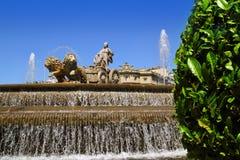 Cibeles statue Madrid fountain in Paseo Castellana Royalty Free Stock Photography