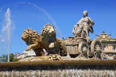 Cibeles statue Madrid fountain in Paseo Castellana Royalty Free Stock Photos
