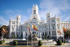 Cibelesfontein en Palacio DE Comunicaciones, Madrid, Spanje Stock Fotografie